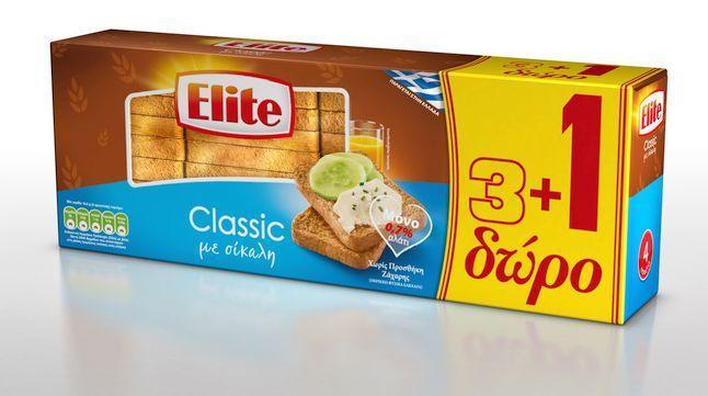 Φρυγανιές Σίκαλης 7% Αλάτι Elite (360g) 3+1 δώρο