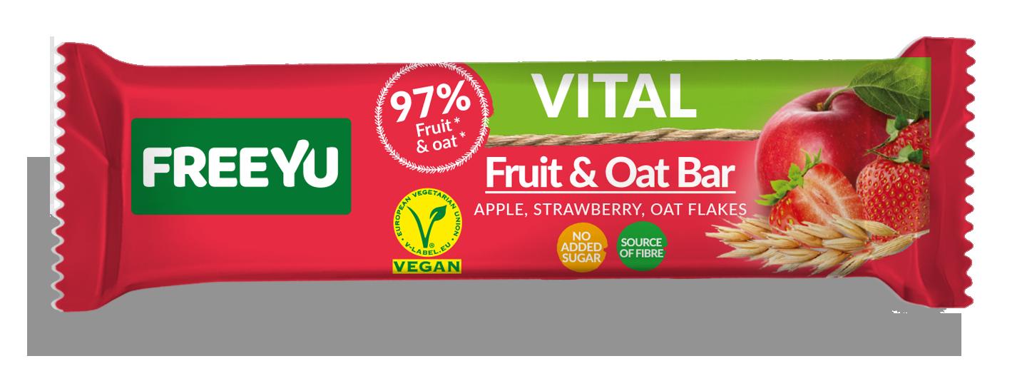 Μπάρα Φρούτων με Βρώμη, Μήλο & Φράουλα Freeyu Vital (40g)
