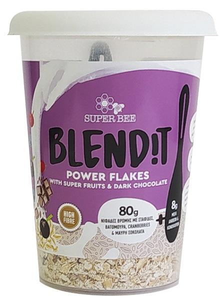 Νιφάδες Βρώμης με Σταφίδες, Βατόμουρα, Cranberries και Μαύρη Σοκολάτα Blend it! SuperBee (88g)
