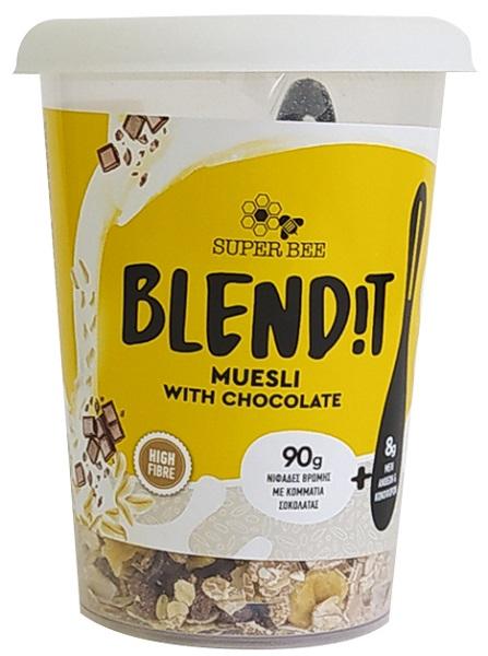 Νιφάδες Βρώμης με Κομμάτια Σοκολάτας Blend it! SuperBee (98g)