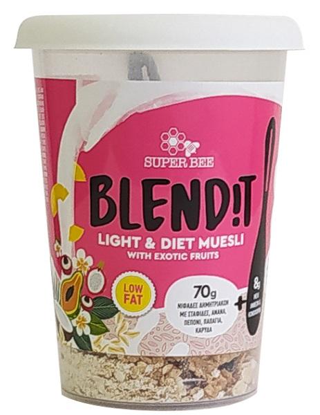 Νιφάδες Δημητριακών με Σταφίδες, Ανανά, Πεπόνι, Παπάγια και Καρύδα Blend it! SuperBee(78g)