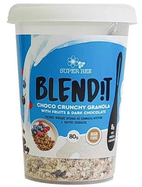 Granola με Κομμάτια Φρούτων & Μαύρης Σοκολάτας Blend it! SuperBee (88g)