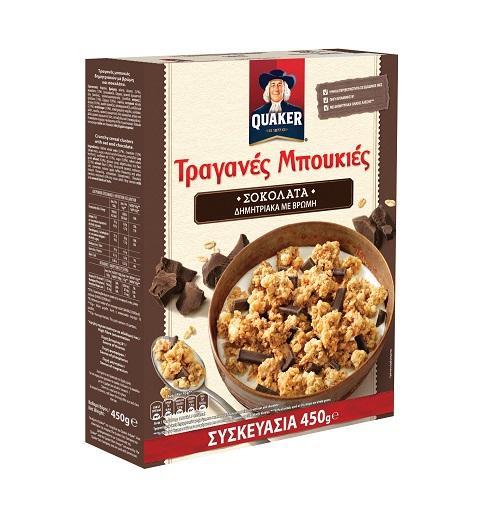 Τραγανές Μπουκιές Δημητριακών με Βρώμη και Σοκολάτα Υγείας Quaker (450g)