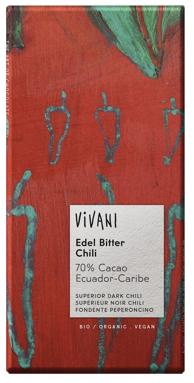 Βιολογική Μαύρη Σοκολάτα 75% με Chilli Vivani (80g)