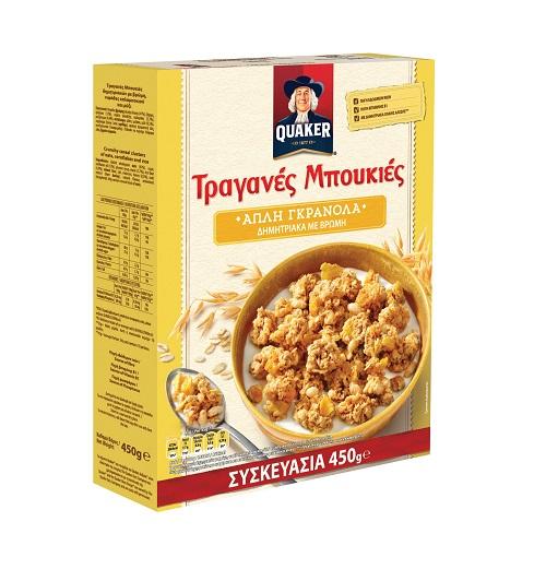 Τραγανές Μπουκιές Δημητριακών με Βρώμη, Νιφάδες Καλαμποκιού και Ρύζι Quaker (450g)