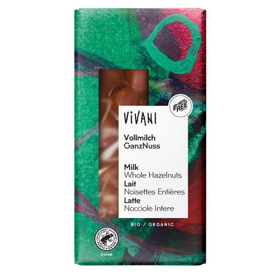 Βιολογική Σοκολάτα Γάλακτος με Ολόκληρα Φουντούκια Vivani (100g)