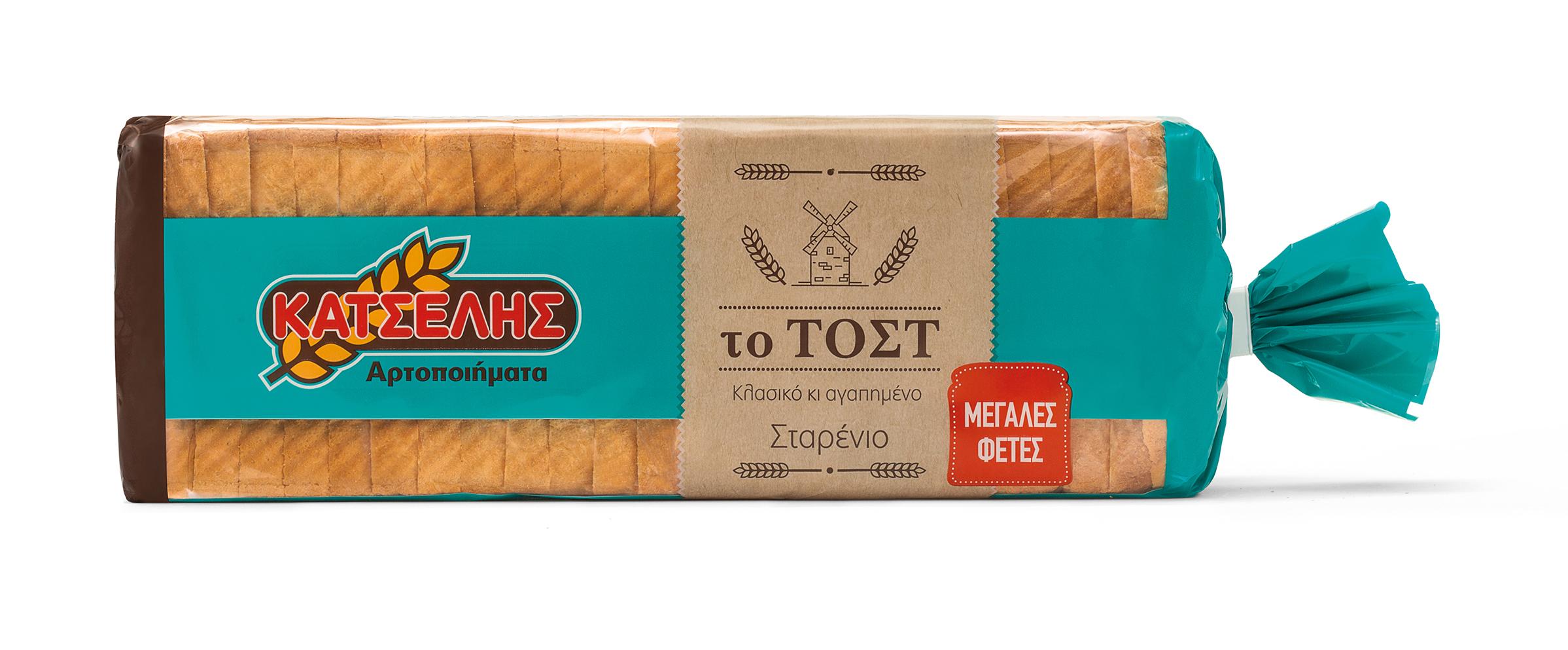 Ψωμί Το Τόστ Σταρένιο Μεγάλες Φέτες Κατσέλης (900 g)
