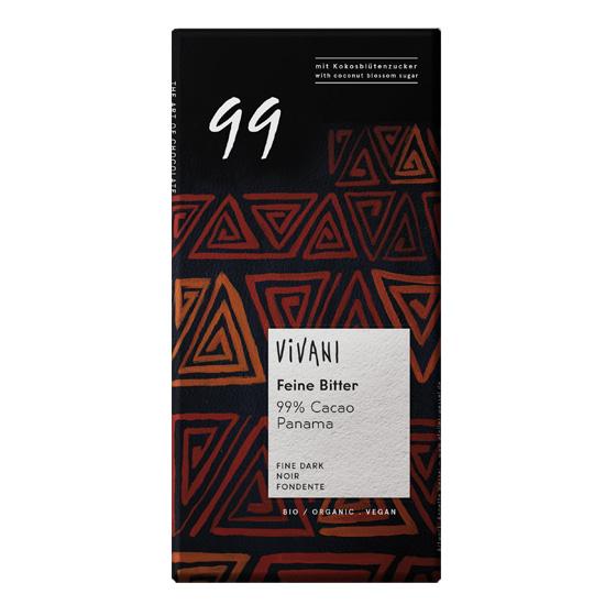 Βιολογική Μαύρη Σοκολάτα 99% με Κακάο Παναμά Vivani (80g)