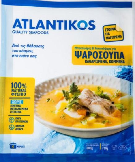 Μπακαλιάρος και Κοκκινόψαρο για Ψαρόσουπα Κατεψυγμένος Atlantikos (800g - κ.β.720g)