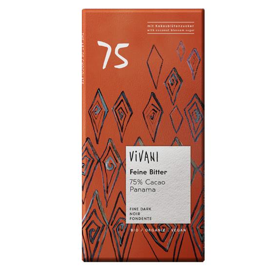 Βιολογική Μαύρη Σοκολάτα 75% με Κακάο Παναμά Vivani (80g)