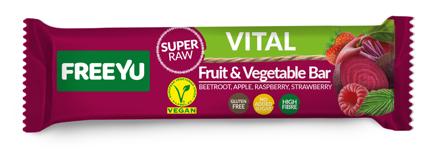 Μπάρα Φρούτων με Μήλο,Φράουλα,Raspberry & Παντζάρι Freeyu Vital (40g)