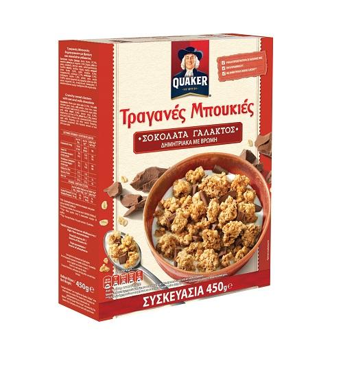 Τραγανές Μπουκιές Δημητριακών με Βρώμη και Σοκολάτα Γάλακτος Quaker (450g)