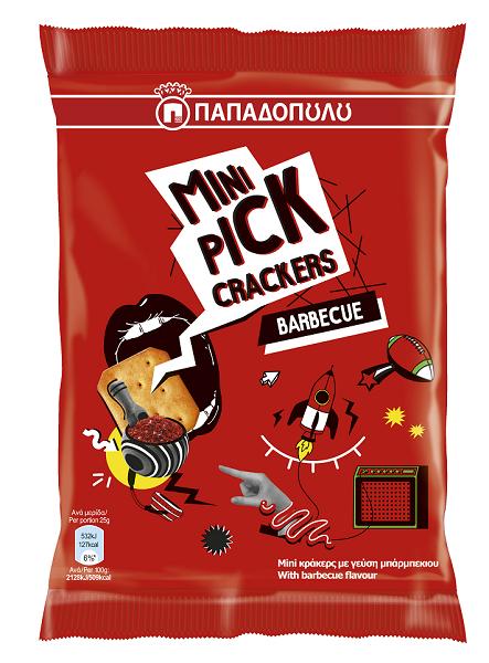 Mini Κράκερς με Γεύση Μπάρμπεκιου Pick Παπαδοπούλου (90g)