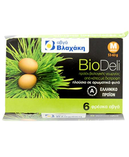 Αυγά Φρέσκα Βιολογικά Medium BioDeli 6 τεμ Βλαχάκη (53-63g)