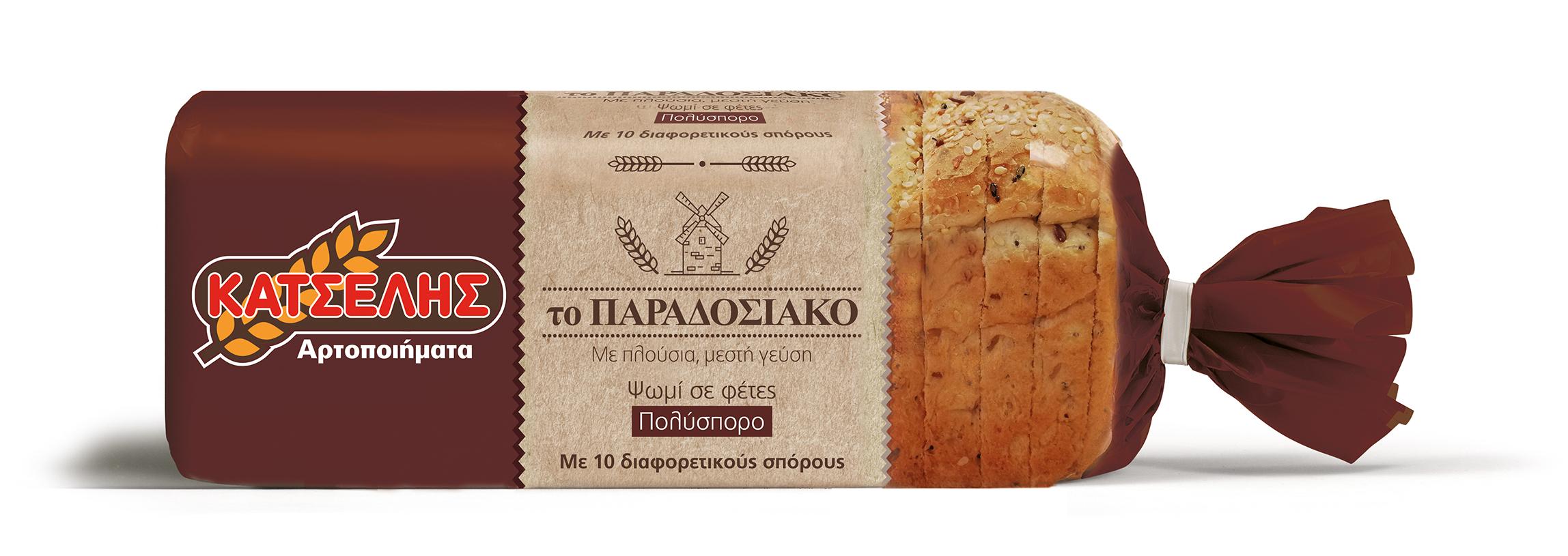 Ψωμί του τόστ Πολύσπορο Το Παραδοσιακό Κατσέλης (500 g)