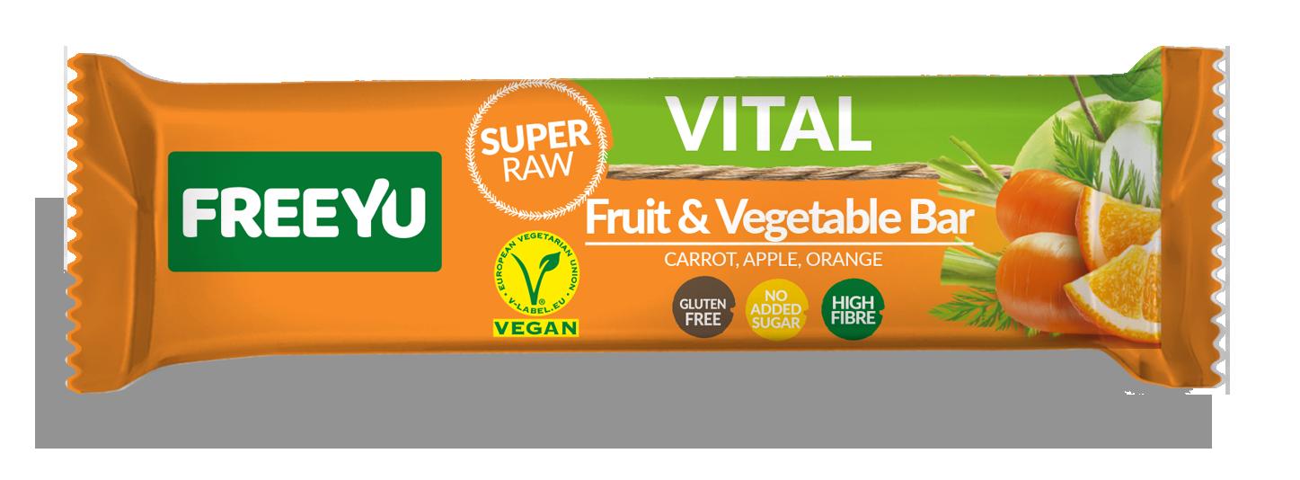 Μπάρα Φρούτων με Μήλο,Καρότο & Πορτοκάλι Freeyu Vital (40g)