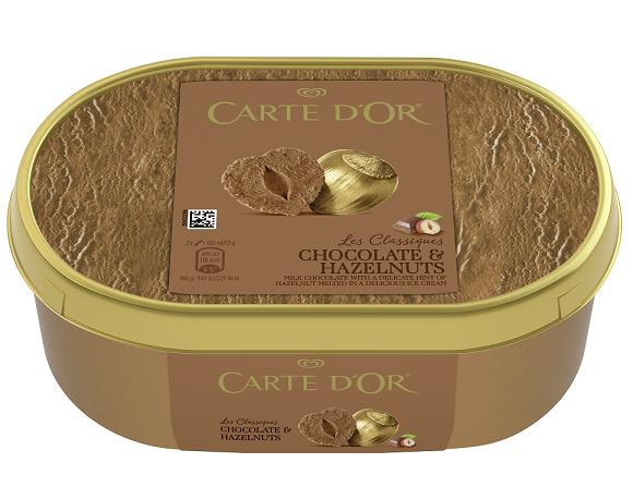 Παγωτό Οικογενειακό με Γεύση Σοκολάτα -Φουντούκι Carte D' Or Algida (1L)