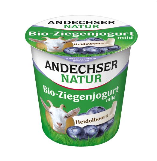 Βιολογικό Κατσικίσιο Επιδόρπιο Γιαουρτιού με Μύρτιλο 3,5% λιπαρά Andechser (125g)