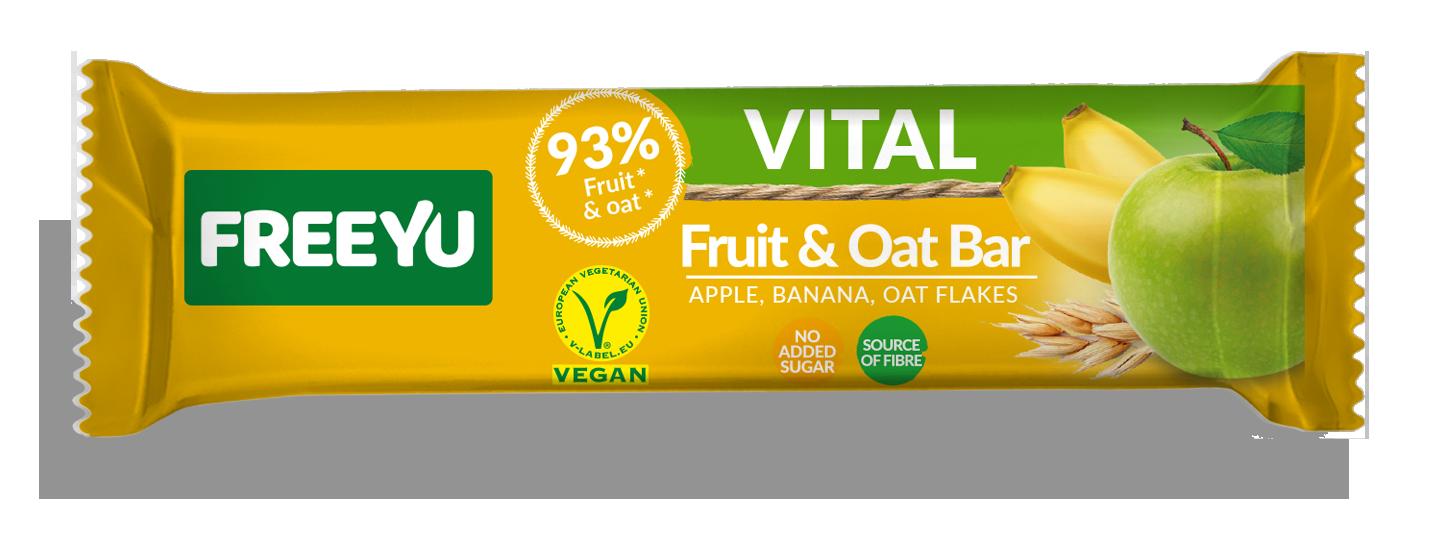 Μπάρα Φρούτων με Βρώμη, Μήλο & Μπανάνα Freeyu Vital (40g)