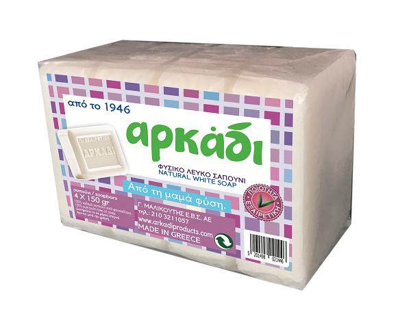 Φυσικό Λευκό Σαπούνι Αρκάδι (4x150 g) 1+1 Δώρο