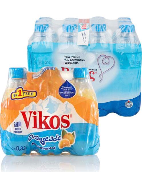 Πορτοκαλάδα χωρίς ανθρακικό Βίκος (6x330 ml) + Δώρο Φυσικό Μεταλλικό Νερό Βίκος (12x500ml)