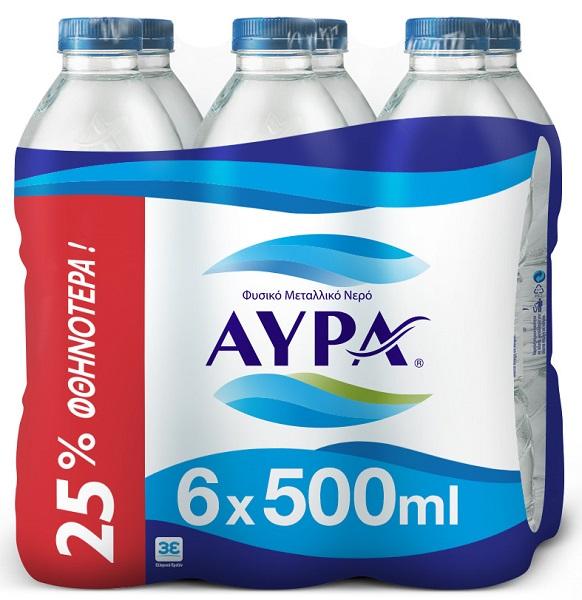 Νερό Φυσικό Μεταλλικό Αύρα (6x500 ml) -25%