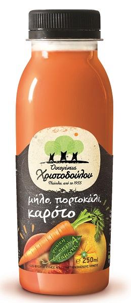 Φυσικός Χυμός Μήλο, Πορτοκάλι, Καρότο Οικογένεια Χριστοδούλου (250 ml)
