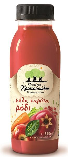 Φυσικός Χυμός Ρόδι, Μήλο, Καρότο Οικογένεια Χριστοδούλου (250 ml)