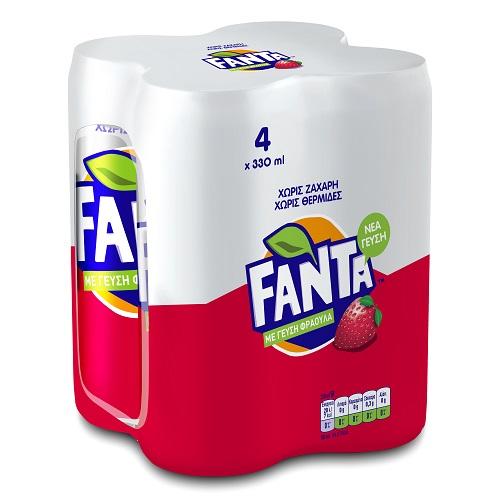 Αναψυκτικό φράουλα-ακτινίδιο Zero Fanta (4x330 ml)