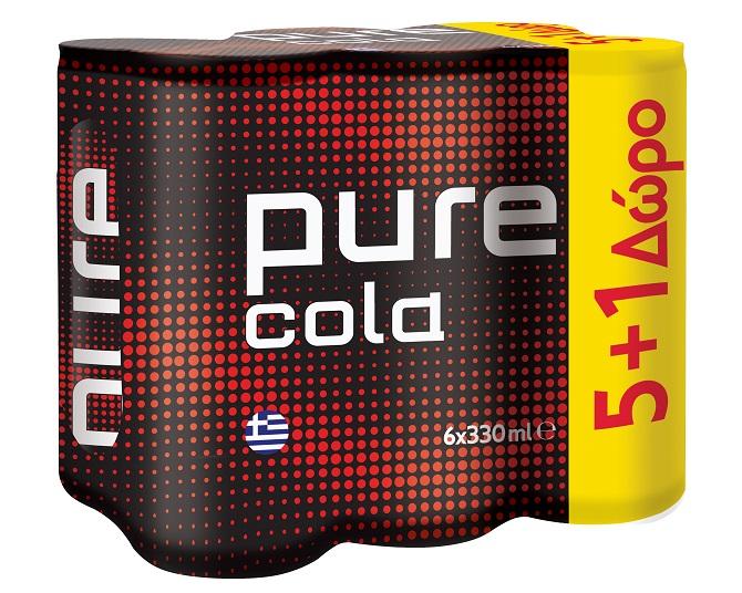 Αναψυκτικό κουτί Pure Cola (6x330 ml) 5+1 Δώρο