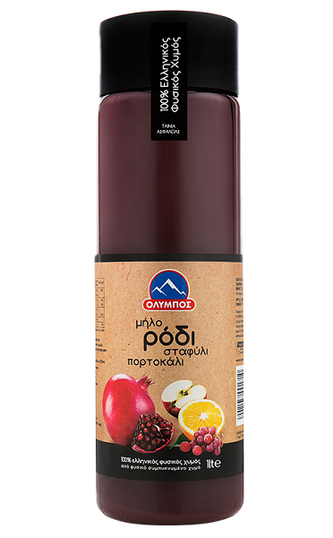 Χυμός Ρόδι, Πορτοκάλι, Μήλο, Σταφύλι Όλυμπος (1 lt) -0,40€