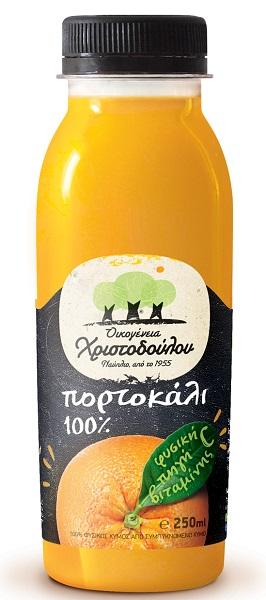 Φυσικός Χυμός Πορτοκάλι 100% Οικογένεια Χριστοδούλου (250 ml)