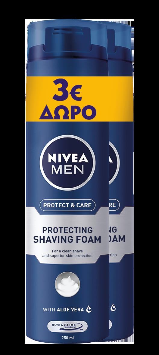 Αφρός Ξυρίσματος Protect & Care Nivea Men -3€ (2x250 ml)