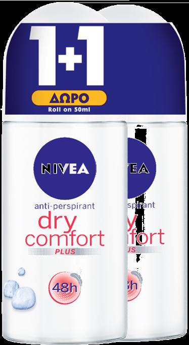Αποσμητικό Roll On Dry Comfort Nivea Deo (50 ml) 1+1 Δώρο
