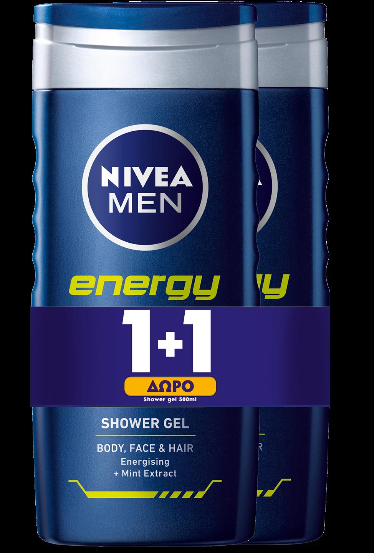 Shower Gel για Άνδρες Gel Energy Nivea Men (500 ml) 1+1 Δώρο