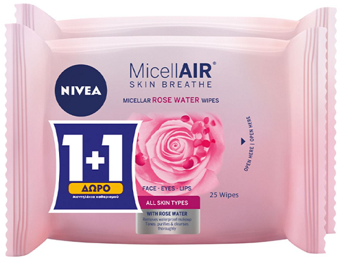 Micellair Μαντηλάκια Καθαρισμού Προσώπου με Ροδόνερο MicellAIR Skin Breathe Nivea (2x25τεμ) 1+1 Δώρο