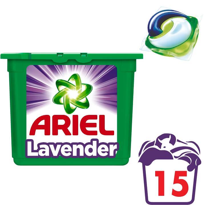 Απορρυπαντικό Πλυντηρίου Λεβάντα Pods 3in1 Ariel (2x15 μεζ) 1+1 Δώρο