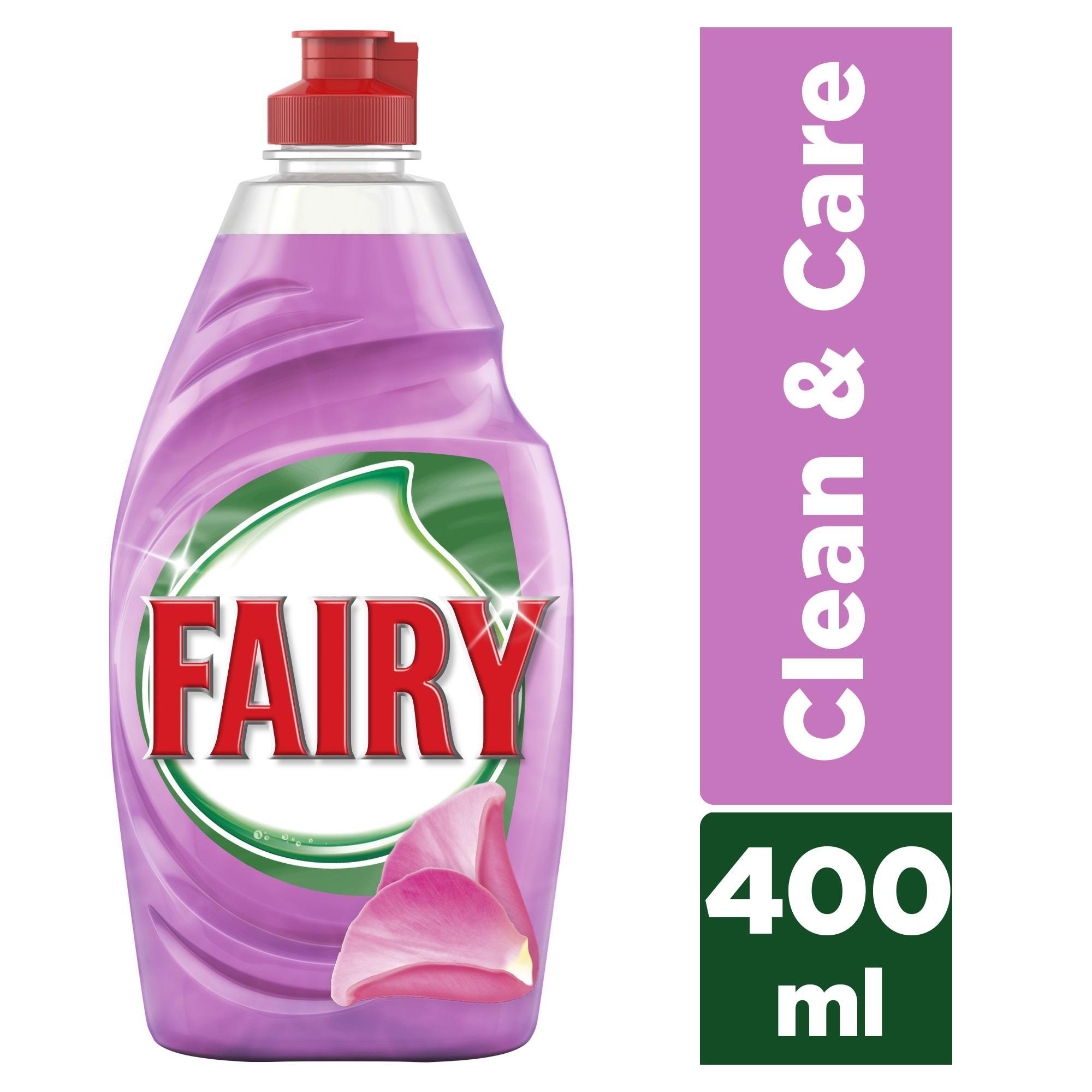 Υγρό Πιάτων Clean & Care Τριαντάφυλλο & Σατέν Fairy (2x400 ml) 1+1 Δώρο