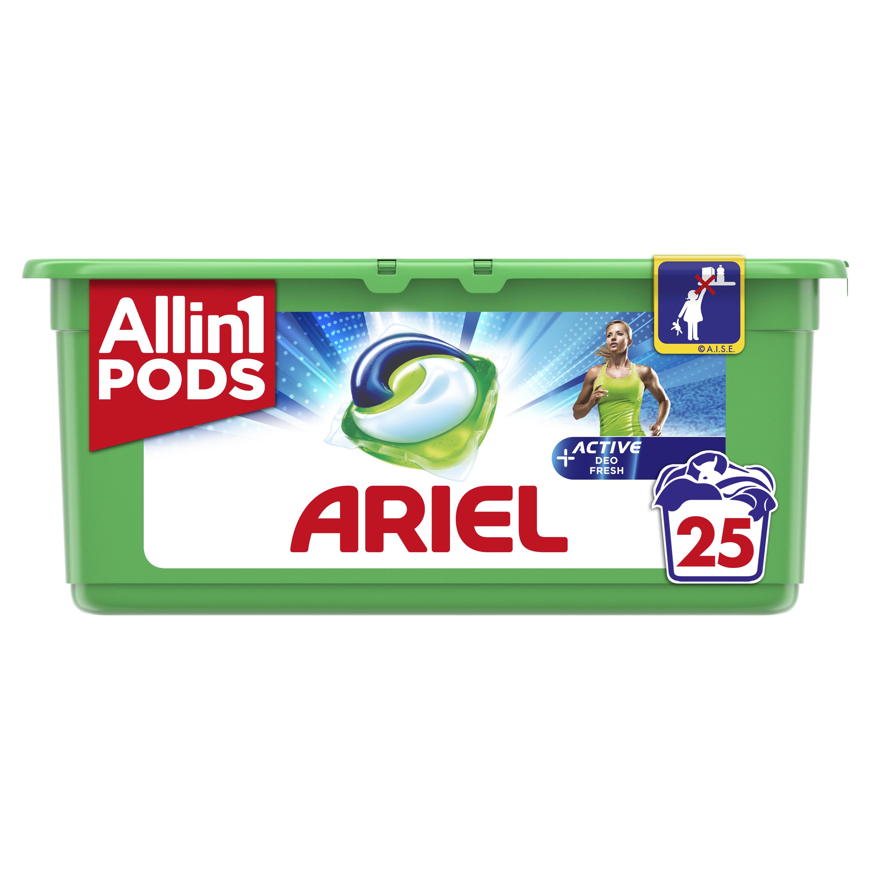 Κάψουλες Πλυντηρίου Allin1 Pods +Active Odor Defense Ariel (25τεμ)