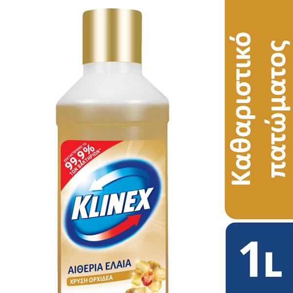 Καθαριστικό Πατώματος Αιθέρια Έλαια Χρυσή Ορχιδέα Klinex (2x1lt) 1+1 Δώρο