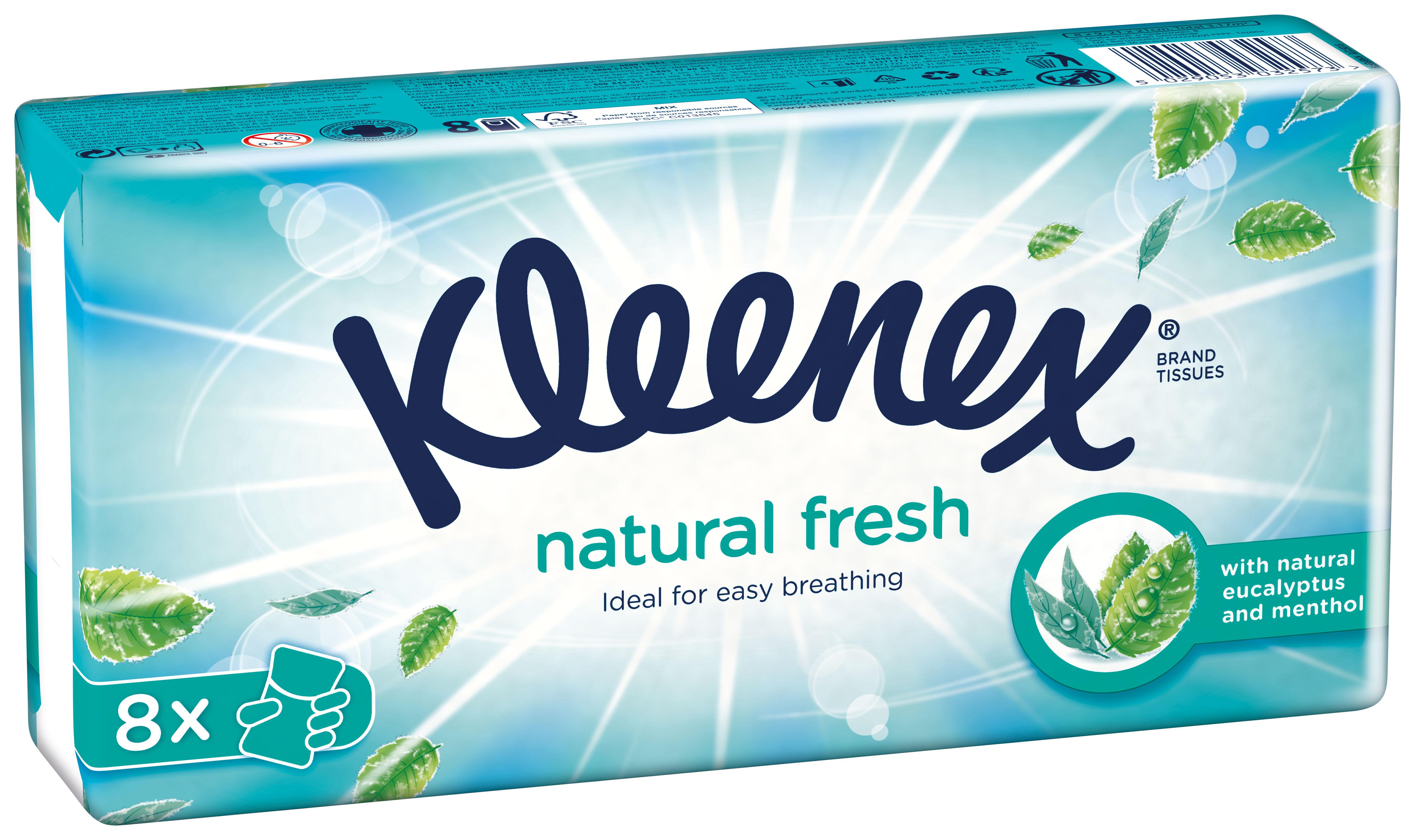Χαρτομάντηλα τσέπης Natural Fresh Kleenex (8 πακέτα)