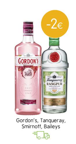 Gordon's, Tanqueray, Smirnoff, Baileys